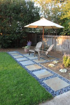 Our new stone walkway and small patio. Bluestone with la paz stones.