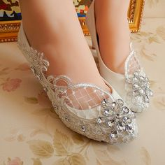 These shoes: Handmade White lace Pearl wedding shoes $55.99