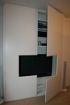 A television fitted inside your wardrobe consumes less required space to fit even a huge TV. Wardrobe Tv, Bedroom Wardrobe, Huge Tv, Fitted Wardrobes, Country Style, Closets, Minimalism, House Plans, Living Room
