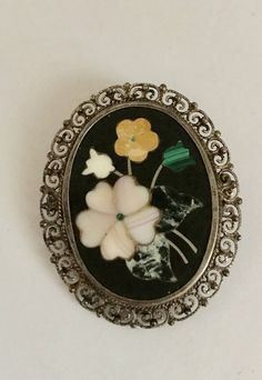 Pietra Dura 800 Silver BROOCH Pendant Pin Vintage FILIGREE Floral Flowers 75 by jewelryannie on Etsy
