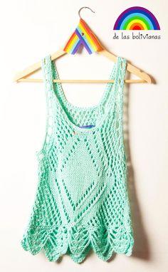 www.delasbolivianas.com  www.facebook.com/delasbolis  100% handmade. Argentina. Crochet Crop Top, Crochet Blouse, Crop Tops, Tank Tops, Facebook, Knitting, How To Make, Handmade, Women