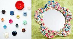 Espejo decorado con botones