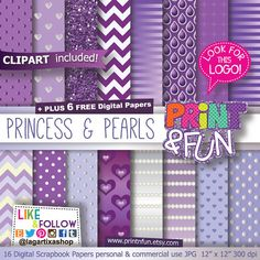 Purple Princess, Digital Paper, Pearls, Background, Clip art included, crown, pearly, ivory, ombre, chevron, printables, invitations