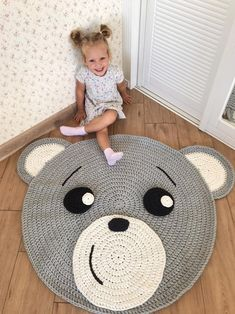 Crochet play mat Nursery rug crochet Play room decor Cotton rug Woodland nursery rug - Kids Rugs - Ideas of Kids Rugs Crochet Mat, Crochet Carpet, Crochet Rug Patterns, Crochet Amigurumi, Animal Rug, Bear Rug, Childrens Rugs, Nursery Rugs, Playroom Decor