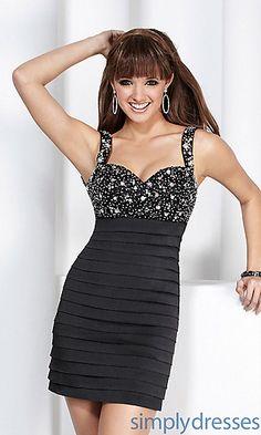Short Black Open Back Banded Dress at PromGirl.com