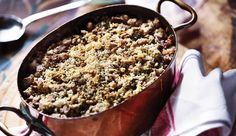 FISH PIE WITH SPELT CRUMBLE. We contributed this recipe to Great British Spelt Recipes, a collection of delicious recipes brought together by Sharpham Park in partnership with Bowel Cancer UK. The aim is to spread the message that a healthy, high fibre diet can help reduce the risk of developing bowel cancer.