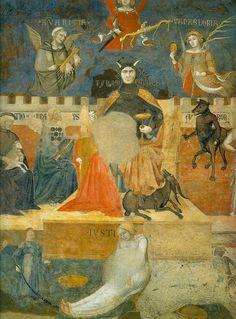 Амброджо Лоренцетти. Аллегория дурного правления. Фреска, деталь. Тиран и его окружение. 1337-1339.Сиена, Палаццо Пубблико.
