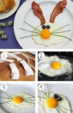 Create a FUN breakfast for the kids during Easter, Very easy to make & will surely put a smile on the little ones faces.: Create a FUN breakfast for the kids during Easter, Very easy to make & will surely put a smile on the little ones faces. Easter Dinner, Easter Brunch, Easter Party, Cute Food, Good Food, Easter Treats, Food Humor, Best Breakfast, Breakfast Kids