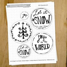 Printable Pen and Ink Holiday Ornament art by Jen Goode