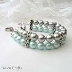 Turquoise and Silver Two Strand Pearl Bracelet