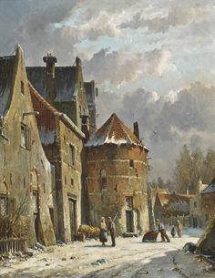 Figures on a Dutch street, winter, Adrianus Eversen