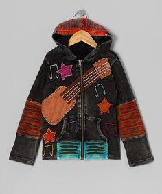 Gray & Brown Guitar Zip-Up Hoodie - Toddler & Girls by Rising International #zulily #zulilyfinds