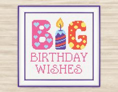 Big birthday wishes Cross Stitch Pattern PDF by TimeForStitch