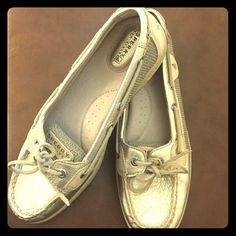 Shoes Super cute Sperry Top Siders! Wore 2X. Perfect color to go with any outfit. They are a shimmery gold/silver color. Sperry Top-Sider Shoes Flats & Loafers