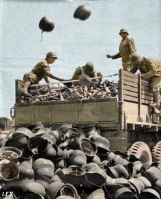 captured German helmets, Tunisia 1943