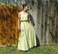Vintage 1970s Wedding Prom Boho Dress spaghetti straps YELLOW FORMAL MOD Med 7-8