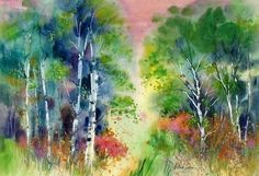 Spring Woods - Watercolors by Deborah Swan-McDonald