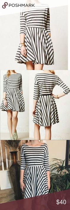 Anthropologie Puella Midday Striped Dress This Anthro Puella is adorable and perfect for all year round. It features a 3/4 sleeve, a fit and flare style in a gorgeous white charcoal & silver stripe. Fabulous condition! No low balls please. Retails for 128.00 Anthropologie Dresses