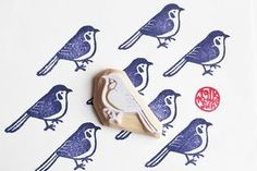 bird fabric hand carved rubber stamp by talktothesun. woodland animal stamp series for your birthday + christmas diy crafts, card making + art journals. decorate cards + g