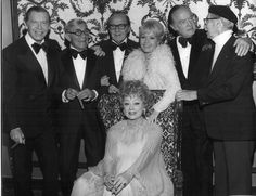 Milton Berle, George Burns, Jack Benny, Debbie Reynolds, Bob Hope, Groucho Marx, and Lucille Ball; photo from the AFI Tribute to James Cagney, Beverly Hilton Hotel, March 31, 1974