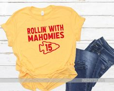Check out our kansas city chiefs shirt selection for the very best in unique or custom, handmade pieces from our shops. Football Fashion, Football Outfits, Football Shirts, Kc Cheifs, Kansas City Chiefs Shirts, Football Design, Vinyl Shirts, Diy Shirt, Football Season