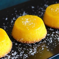 Quindim is a succulent traditional Brazilian dessert originally from Portugal prepared with egg yolks, sugar and coconut.