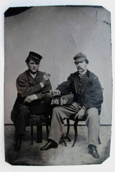 Tintype Photo 2 Handsome Very Cool Sexy Dudes Wearing Hats Smoking Cigars | eBay