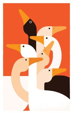 """Fashion Illustration Design Another piece by Giacomo Bagnara, """"Black Swan,"""" which really feels like a hats off to Charley Harper. Would love to see this guy do decorative materials, maybe even prints for fashion. Art And Illustration, Vogel Illustration, Illustration Inspiration, Illustrations And Posters, Animal Illustrations, Pattern Illustration, Plakat Design, Art Graphique, Grafik Design"""
