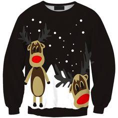Round Neck Long Sleeve Elk Printed Christmas Sweatshirt