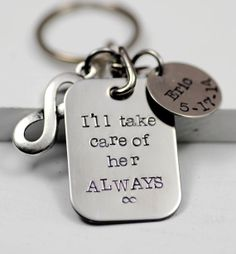 Father of the Bride Gift Keychain - Hand Stamped Love Wife Fiance Girlfriend Boyfriend Stainless Steel Wedding MIL FIL Mother of the Bride on Etsy, $25.00