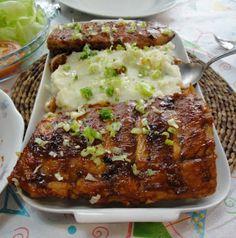 Costelinha suína com purê de batata-doce