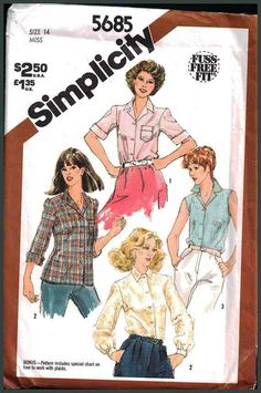 Simplicity Sewing Pattern 5685 Misses' Shirt Size: 14 Uncut