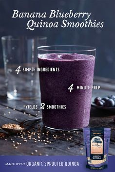 Get out the door and on-the-go with this sweet and simple smoothie. Combine our Organic Quinoa, milk, banana, and frozen blueberries in a blender. Ready in 5 minutes! Find this and other easy recipes now.
