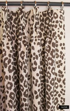 Living Room with Schumacher Iconic Leopard Custom Drapes (Shown in Ink - comes in other colors) Bay Window Curtains, Drapes And Blinds, Drapes Curtains, Burlap Curtains, Window Seats, Drapery, Animal Print Curtains, Printed Curtains, Leopard Decor