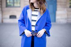 "#ESCADAEscapes: Royal blue colors at Palais Royal, Paris. @billieroseblog wearing an ESCADA Sport top, ESCADA coat ""Coaty"" and ESCADA sunglasses ""Bali"""