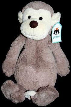 "Bashful Monkey Beige  Jellycat Plush Stuffed Soft Toy Tan New Medium 12""  #JellyCat"
