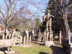 Fred Smith's Wisconsin Concrete Park located in Phillips, Wisconsin. The park is home to 237 embellished concrete sculptures and other objects .