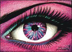 Her eye is like a purple diamond.