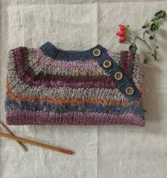 Handknitted Sweater, 1-3 month baby, wool and silk