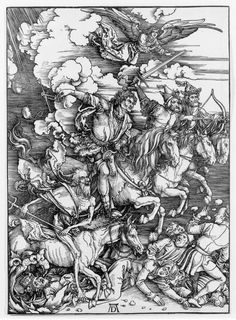 The Four Horsemen, from The ApocalypseArtist: Albrecht Dürer (German, Nuremberg 1471–1528 Nuremberg) Date: 1498 Medium: Woodcut Dimensions: Sheet: 15 1/4 x 11 7/16 in. (38.8 x 29.1 cm) Image: 15 1/4 x 11 in. (38.7 x 27.9 cm) Classification: Prints Credit Line: Gift of Junius Spencer Morgan, 1919 Accession Number: 19.73.209