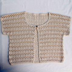 Cotton Crochet Cream Waistcoat Vest 36in Chest M Excellent
