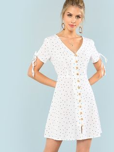 Shop Polka Dot Drawstring Sleeve Button Up Dress online. SheIn offers Polka Dot Drawstring Sleeve Button Up Dress & more to fit your fashionable needs. Simple Dresses, Cute Dresses, Girls Dresses, Women's Fashion Dresses, Dress Outfits, Dress Clothes, Polka Dot Mini Dresses, Fit N Flare Dress, Button Up Dress