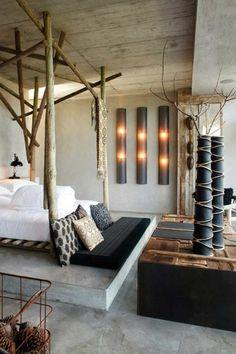 chambre zen, lit bambou sur une pleteforme en béton