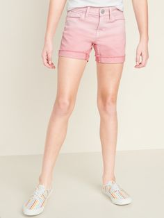 Pink Ombré Frayed-Cuff Jean Shorts for Girls Pink Jeans, Pink Shorts, Jean Shorts, White Shorts, Pink Dip Dye, Old Navy Kids, Short En Jean, Shop Old Navy, Navy Pink