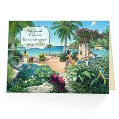 Te ves en el nuevo mundo?Que preciosa tarjeta del Paraiso para animar a alguien, compartir tu esperanza, expresar aprecio a algun amigo, o simplemente para decorar tu casa teniendo esta maravillosa esperanza a simple vista!