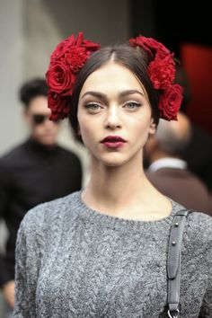 The beautiful Zhenya Katava outside Dolce & Gabbana Spring 2015. Source: Patrick G. Cardirchelier