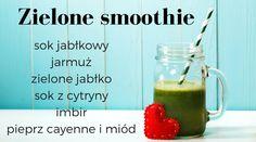 Zielony koktajl w sam raz na wiosnę! #smoothie #koktajl #jabłka #apple #jarmuż #green #healthy #abcZdrowie Smoothies, Mason Jars, Mugs, Drinks, Tableware, Smoothie, Drinking, Beverages, Dinnerware
