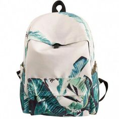 Cheap Unique Green Banana Leaves Large Capacity Canvas School Backpack For Big Sale!Unique Green Banana Leaves Large Capacity Canvas School Backpack is a popular backpack in school. Vintage Backpacks, Cute Backpacks, Girl Backpacks, School Backpacks, Cute School Bags, School Bags For Girls, Lace Backpack, Fashion Backpack, Travel Fashion