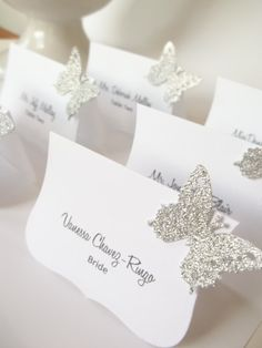 Glam Wedding Decor Sliver Glitter  Place Cards by LillyThings, $0.99