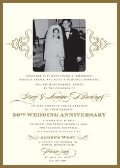wedding invitations  for a 50th wedding anniversary | 50th Wedding Anniversary Invitation Wording Samples free for your ...